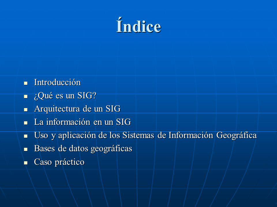 Índice Introducción ¿Qué es un SIG Arquitectura de un SIG