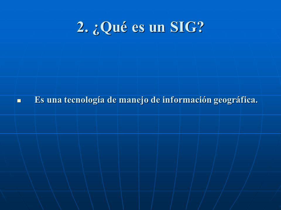 2. ¿Qué es un SIG Es una tecnología de manejo de información geográfica. ACRÓNIMOS: SIG: Sistema de Información Geográfica.