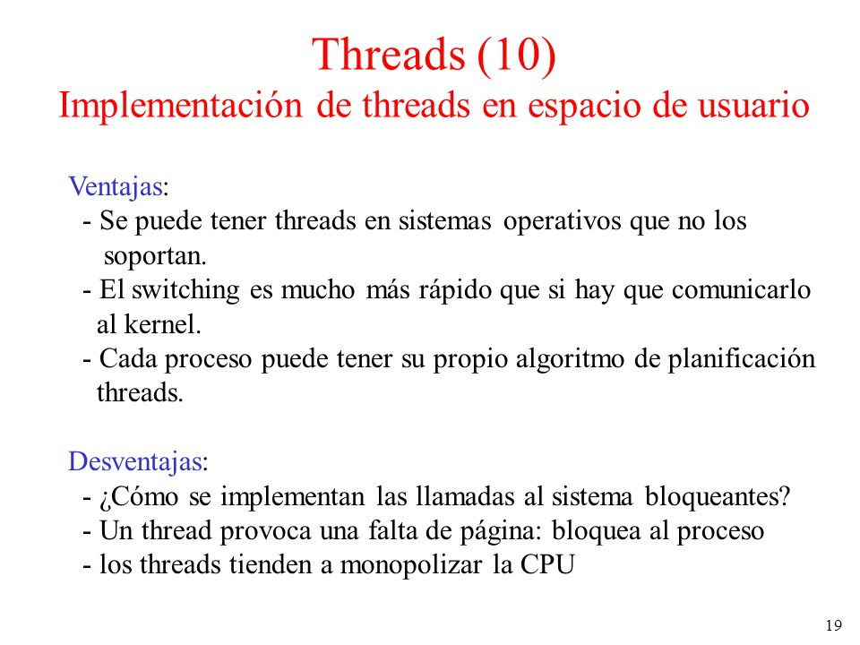 Threads (10) Implementación de threads en espacio de usuario