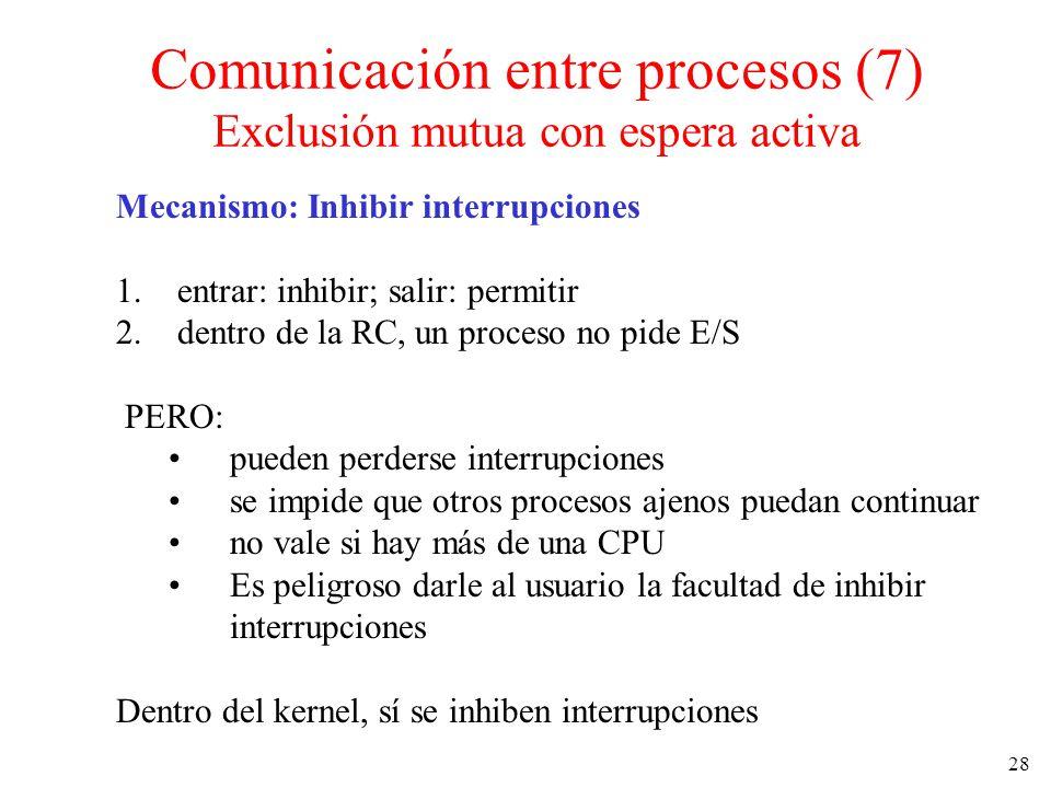 Comunicación entre procesos (7) Exclusión mutua con espera activa