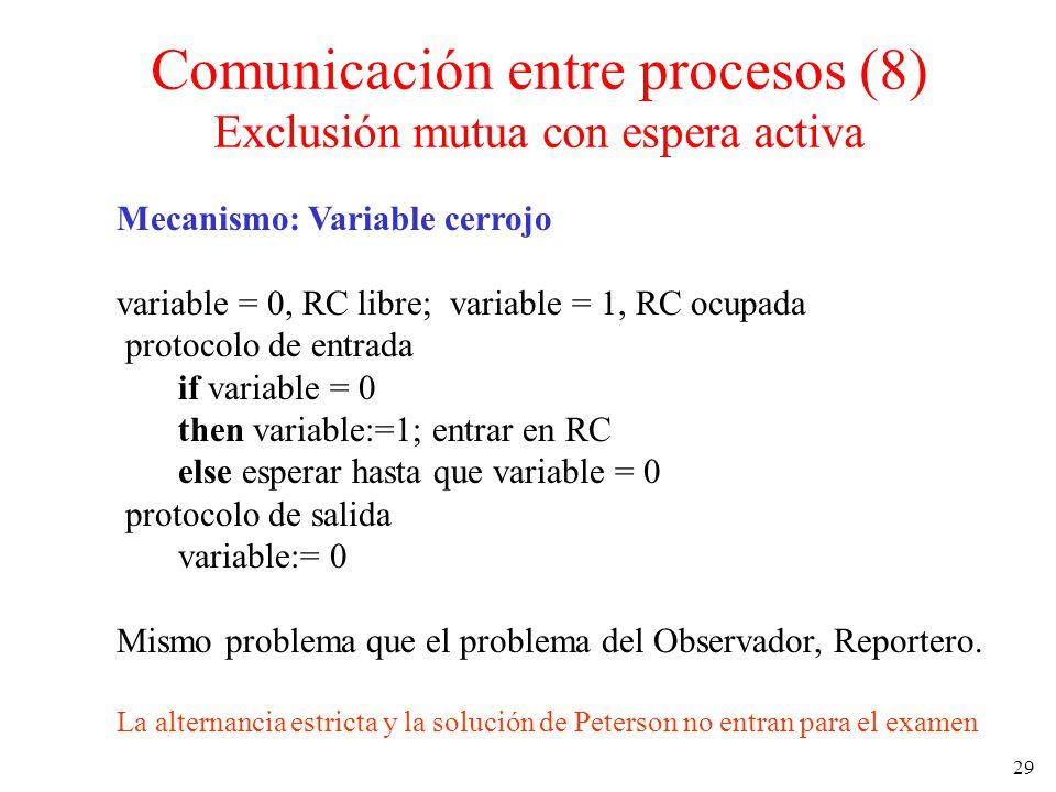 Comunicación entre procesos (8) Exclusión mutua con espera activa