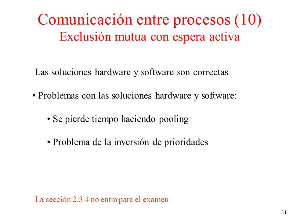 Comunicación entre procesos (10) Exclusión mutua con espera activa