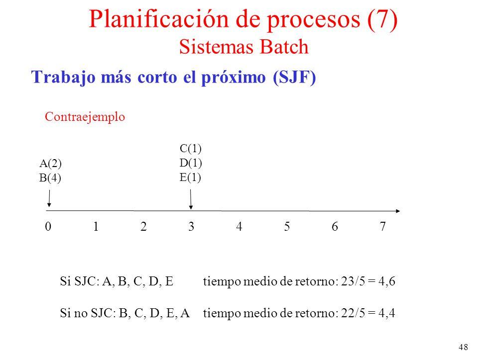 Planificación de procesos (7) Sistemas Batch