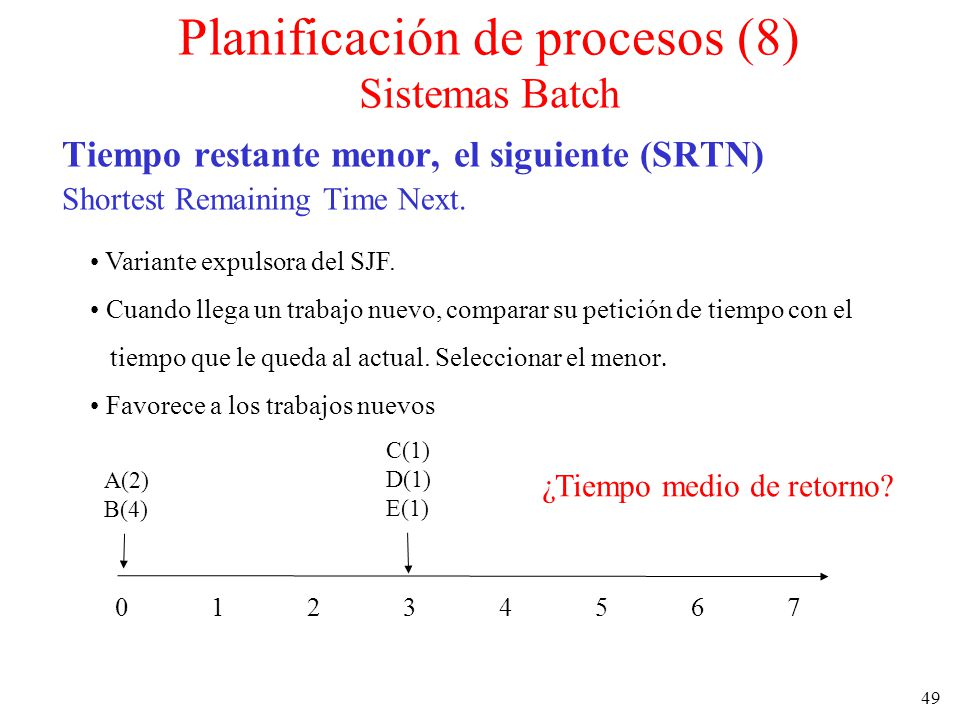 Planificación de procesos (8) Sistemas Batch