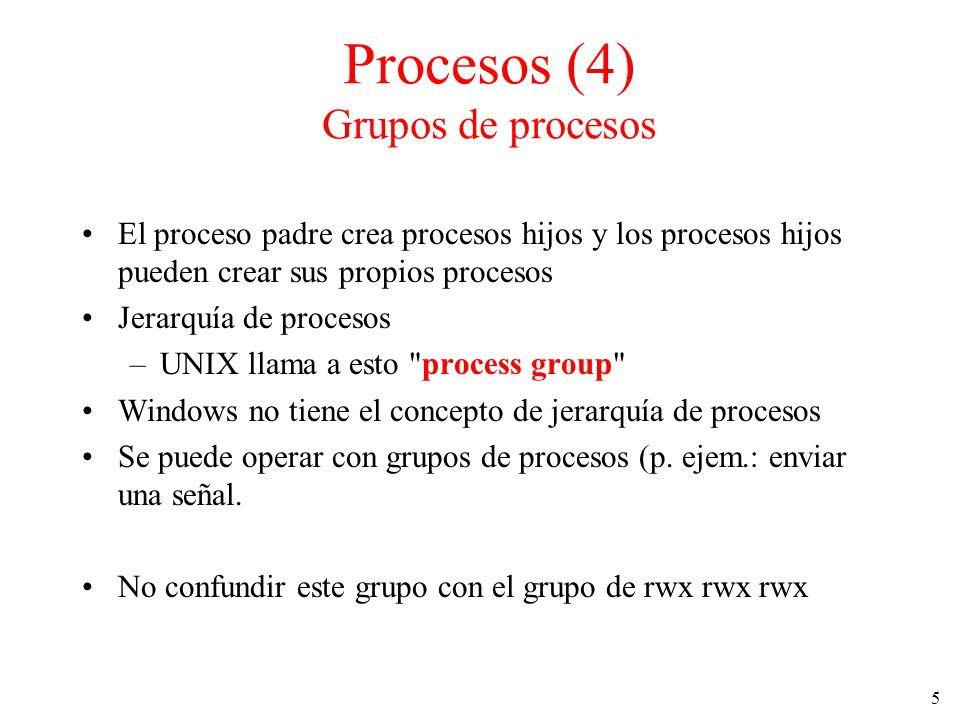 Procesos (4) Grupos de procesos