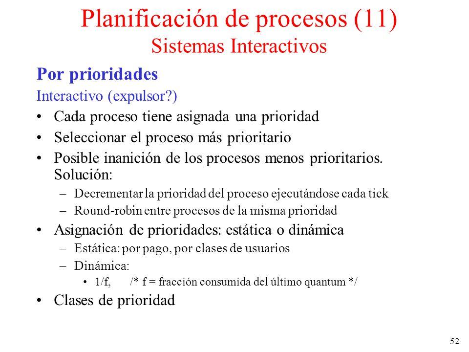 Planificación de procesos (11) Sistemas Interactivos
