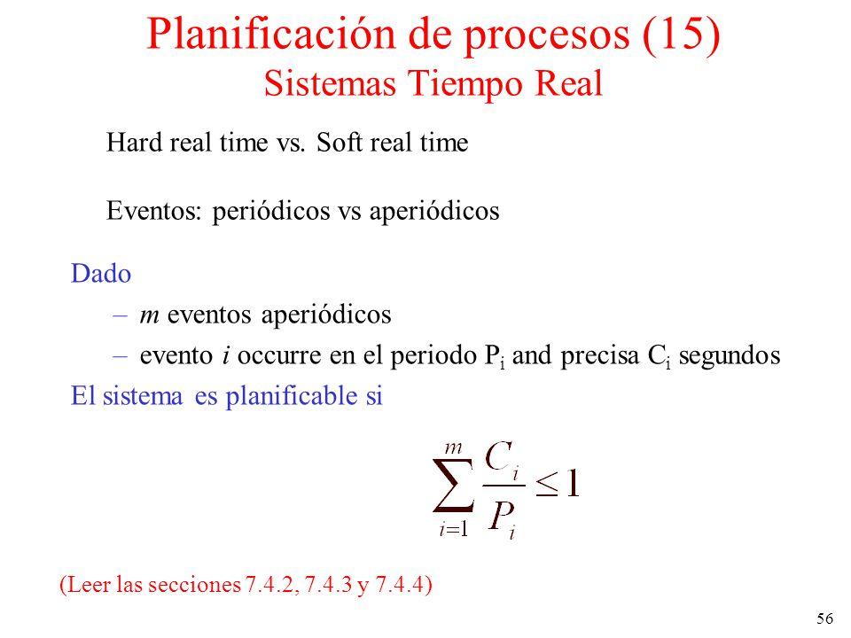 Planificación de procesos (15) Sistemas Tiempo Real