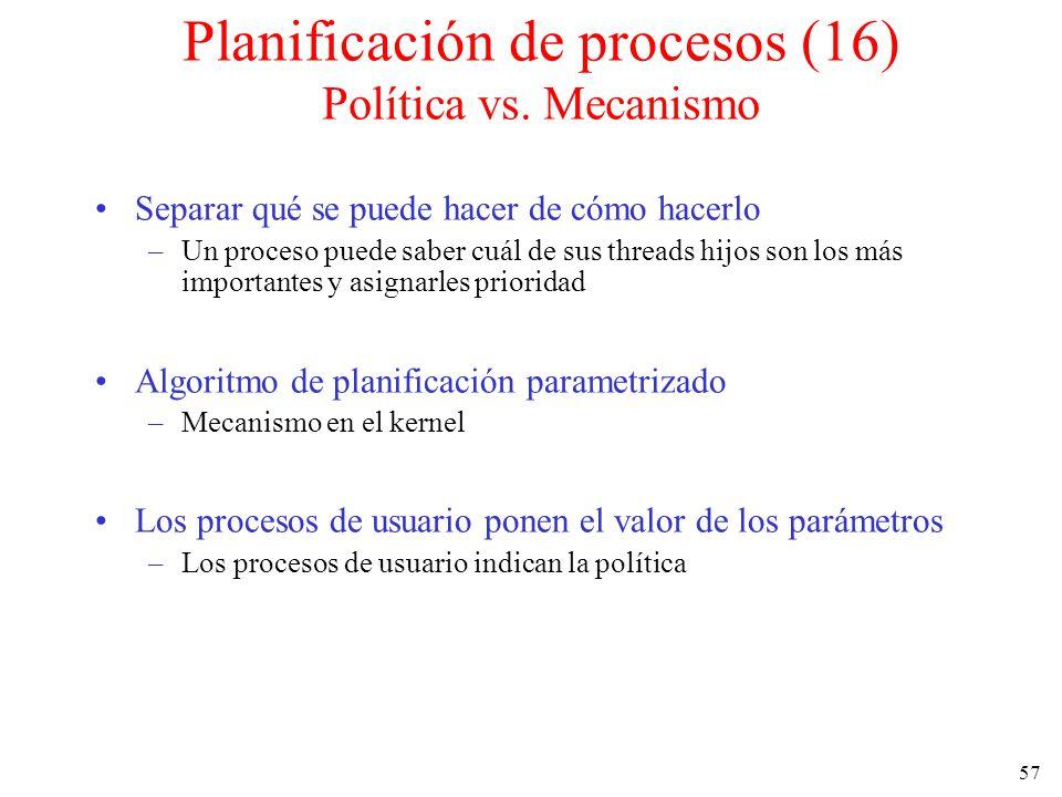 Planificación de procesos (16) Política vs. Mecanismo