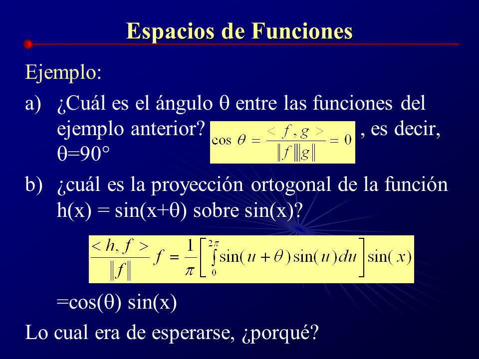 Espacios de Funciones Ejemplo: