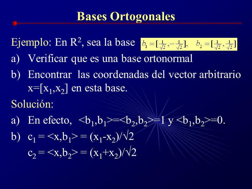 Bases Ortogonales Ejemplo: En R2, sea la base