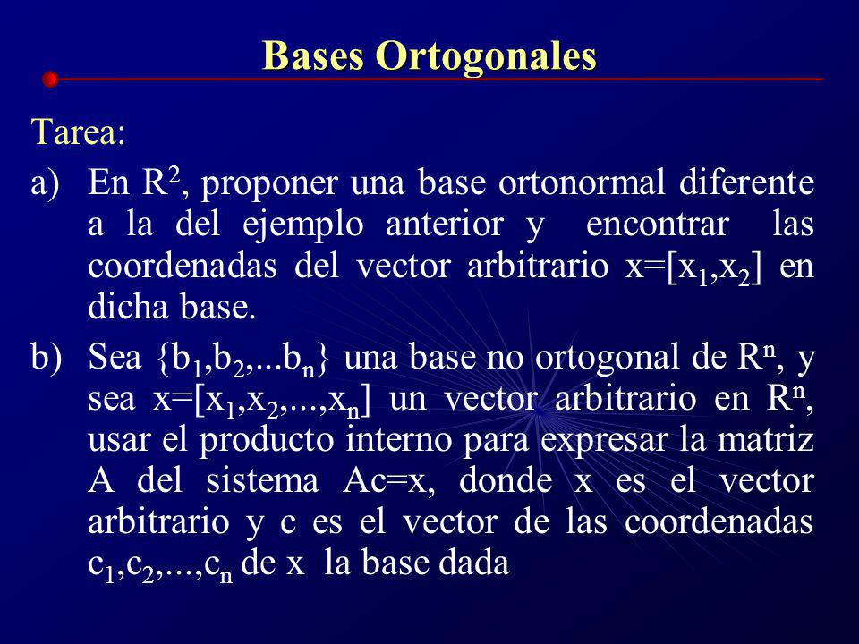 Bases Ortogonales Tarea: