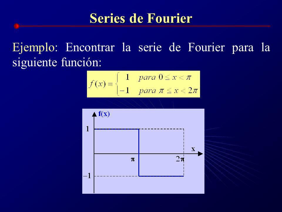 Series de Fourier Ejemplo: Encontrar la serie de Fourier para la siguiente función: