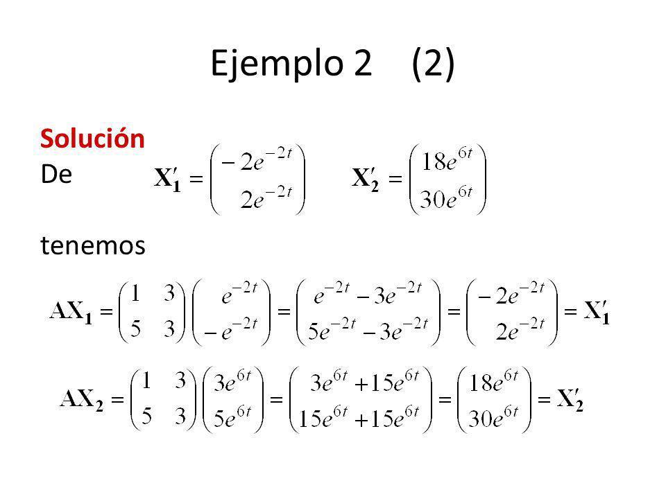 Ejemplo 2 (2) Solución De tenemos