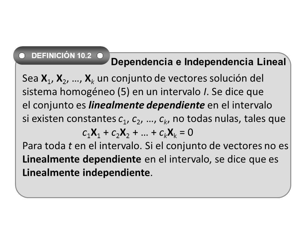 Sea X1, X2, …, Xk un conjunto de vectores solución del