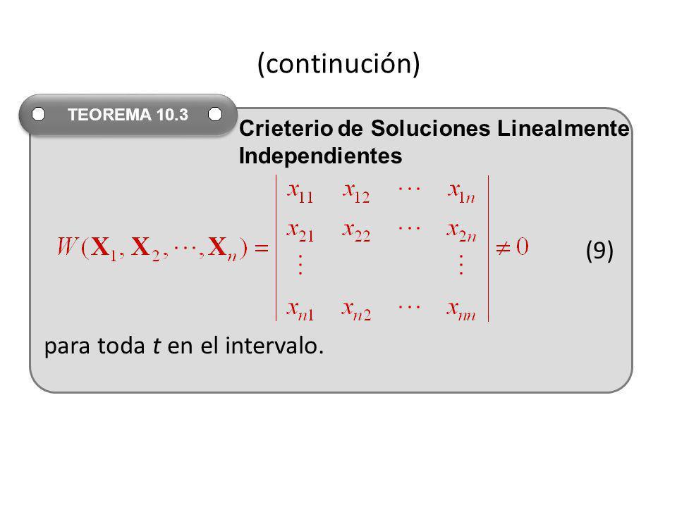 (continución) (9) para toda t en el intervalo.