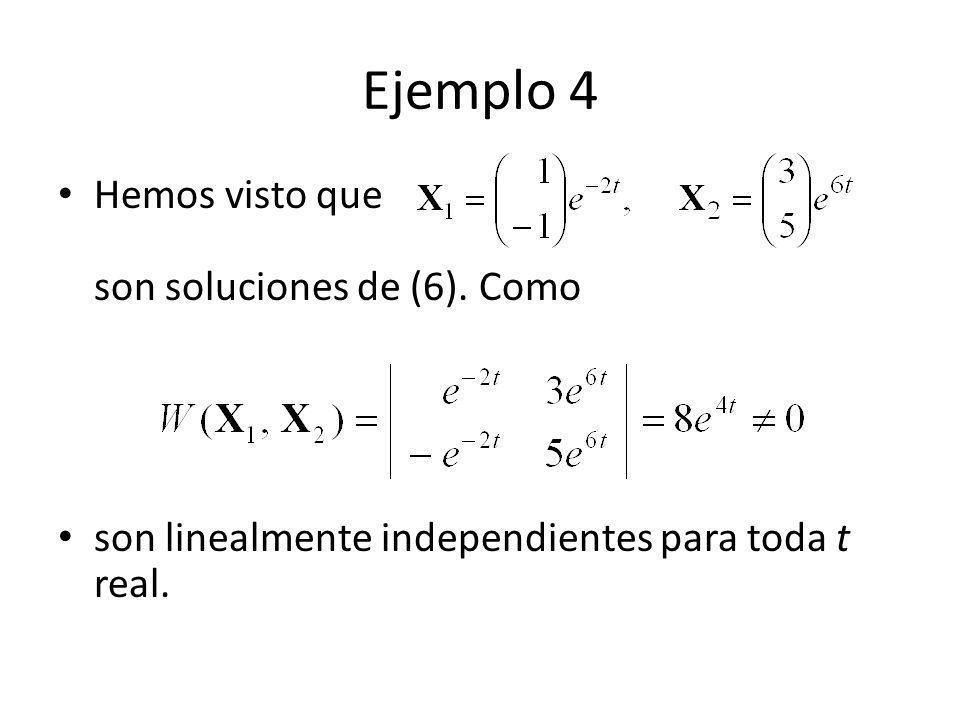 Ejemplo 4 Hemos visto que son soluciones de (6). Como