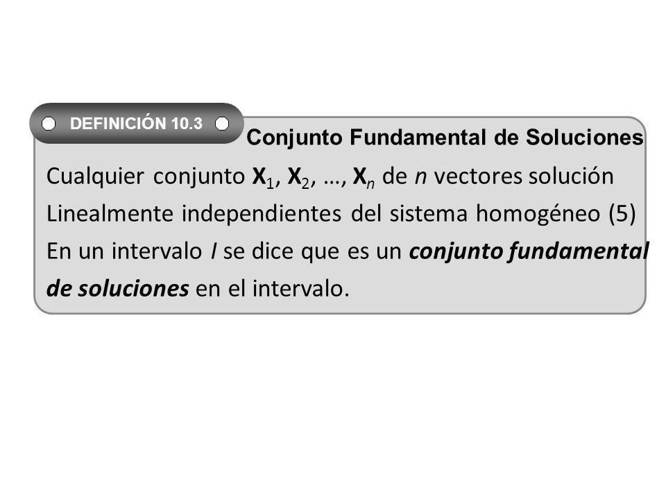 Cualquier conjunto X1, X2, …, Xn de n vectores solución