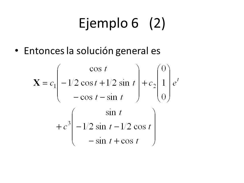 Ejemplo 6 (2) Entonces la solución general es