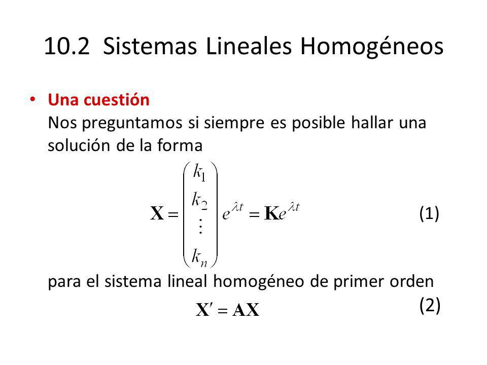 10.2 Sistemas Lineales Homogéneos