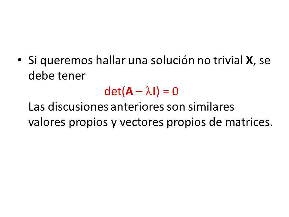 Si queremos hallar una solución no trivial X, se debe tener
