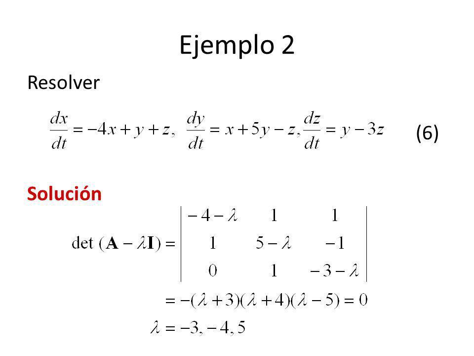 Ejemplo 2 Resolver (6) Solución