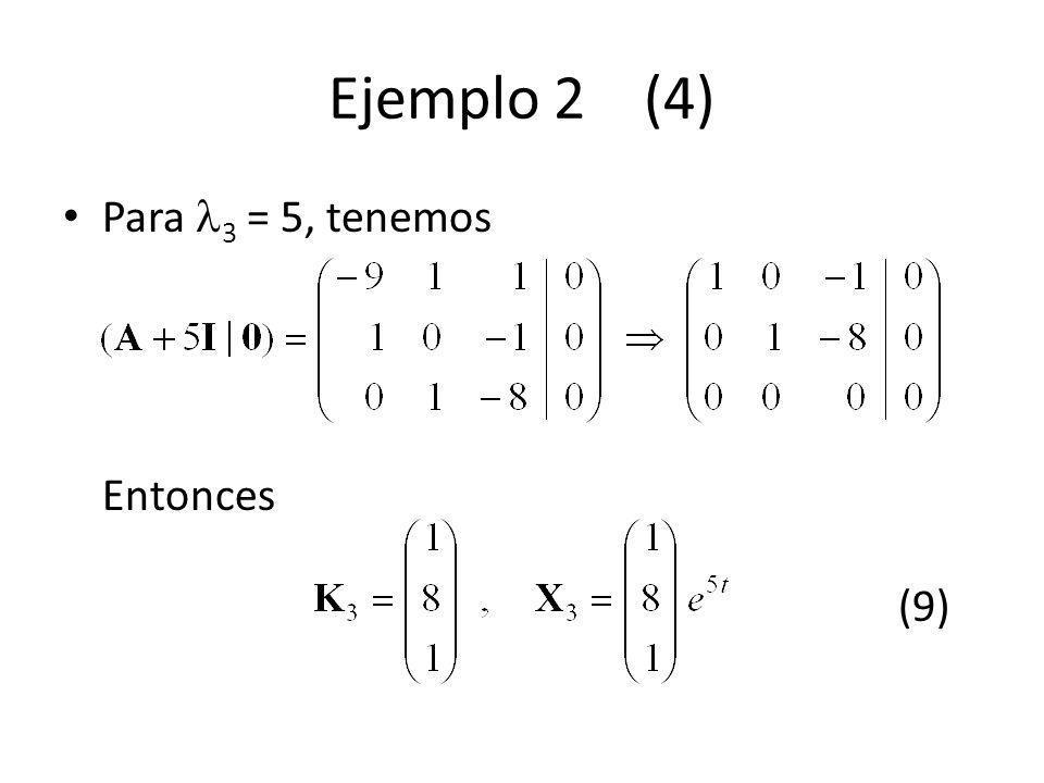 Ejemplo 2 (4) Para 3 = 5, tenemos Entonces (9)