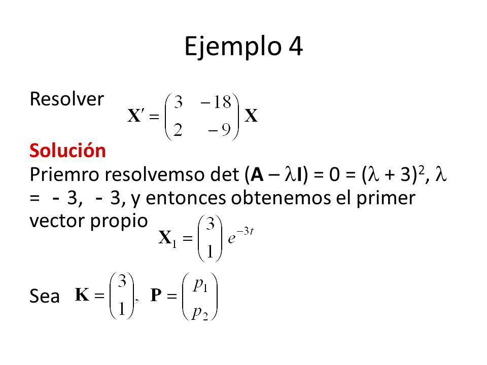 Ejemplo 4 Resolver. Solución Priemro resolvemso det (A – I) = 0 = ( + 3)2,  = -3, -3, y entonces obtenemos el primer vector propio.