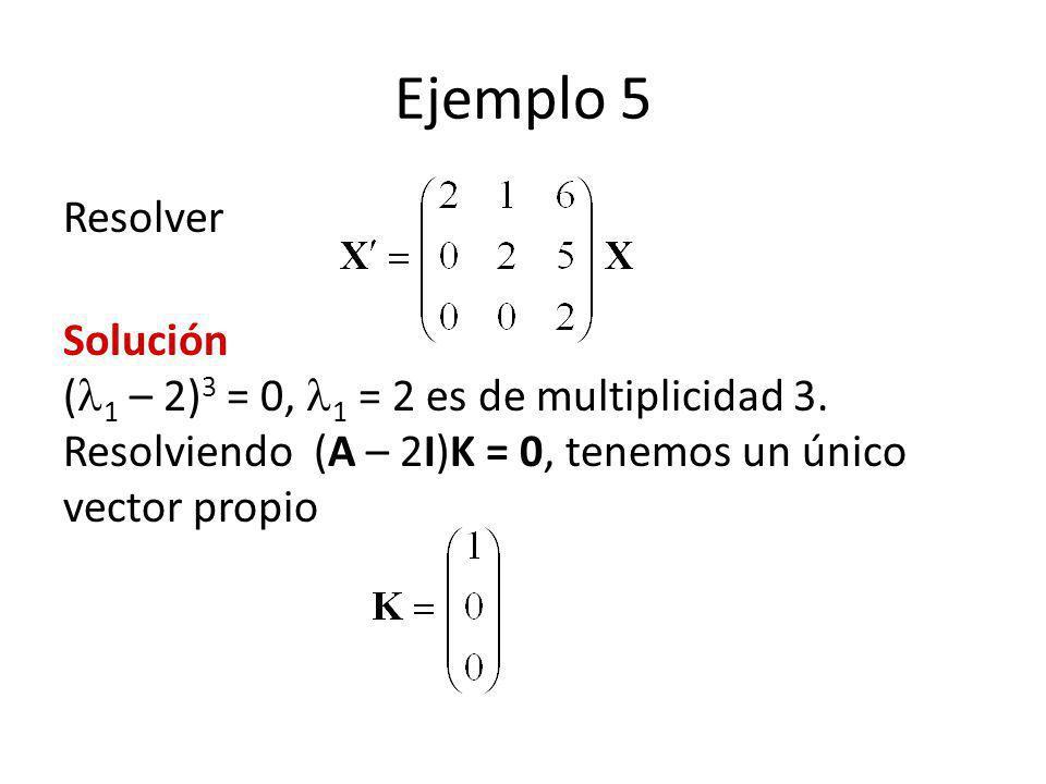 Ejemplo 5 Resolver. Solución (1 – 2)3 = 0, 1 = 2 es de multiplicidad 3.