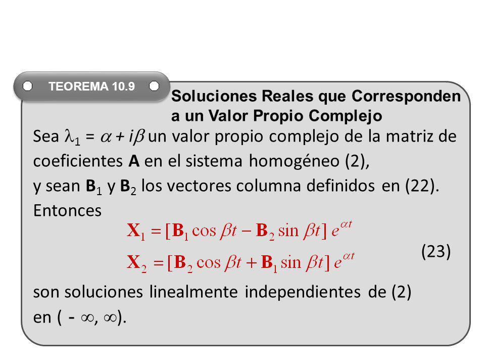 Sea 1 =  + i un valor propio complejo de la matriz de