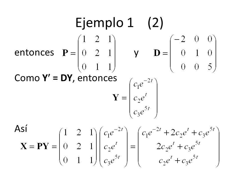Ejemplo 1 (2) entonces y Como Y = DY, entonces Así