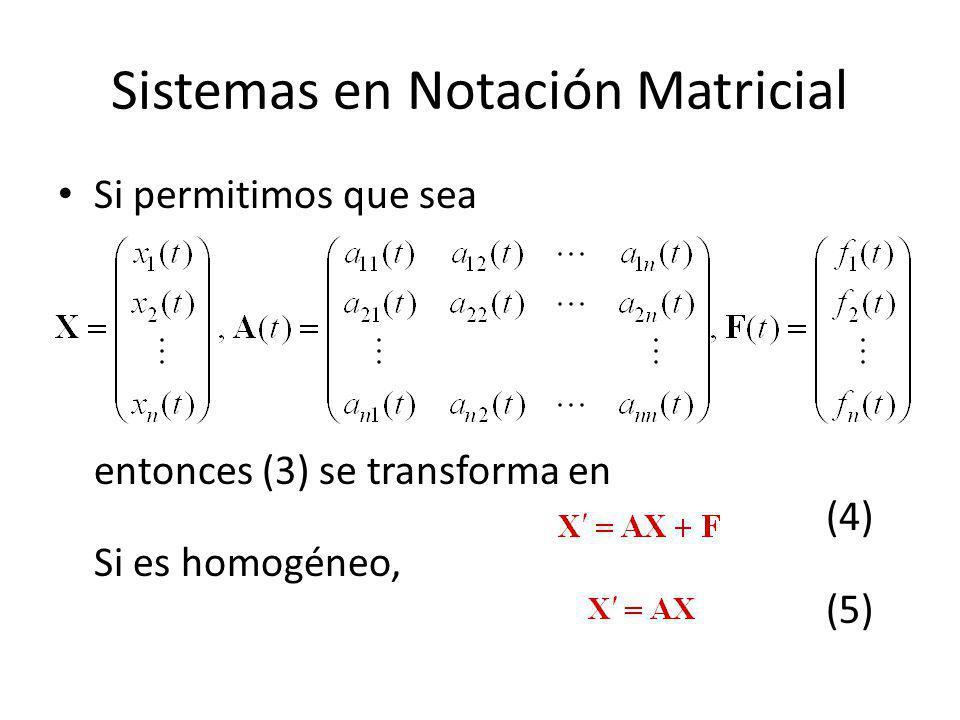 Sistemas en Notación Matricial
