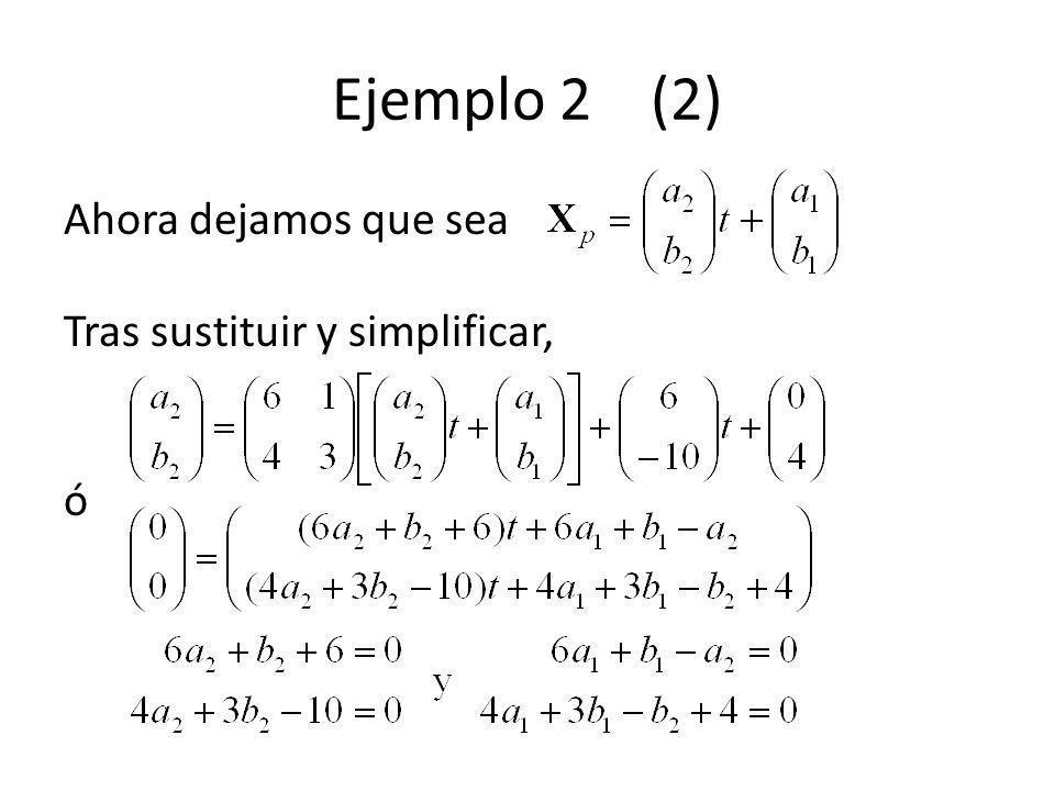 Ejemplo 2 (2) Ahora dejamos que sea Tras sustituir y simplificar, ó