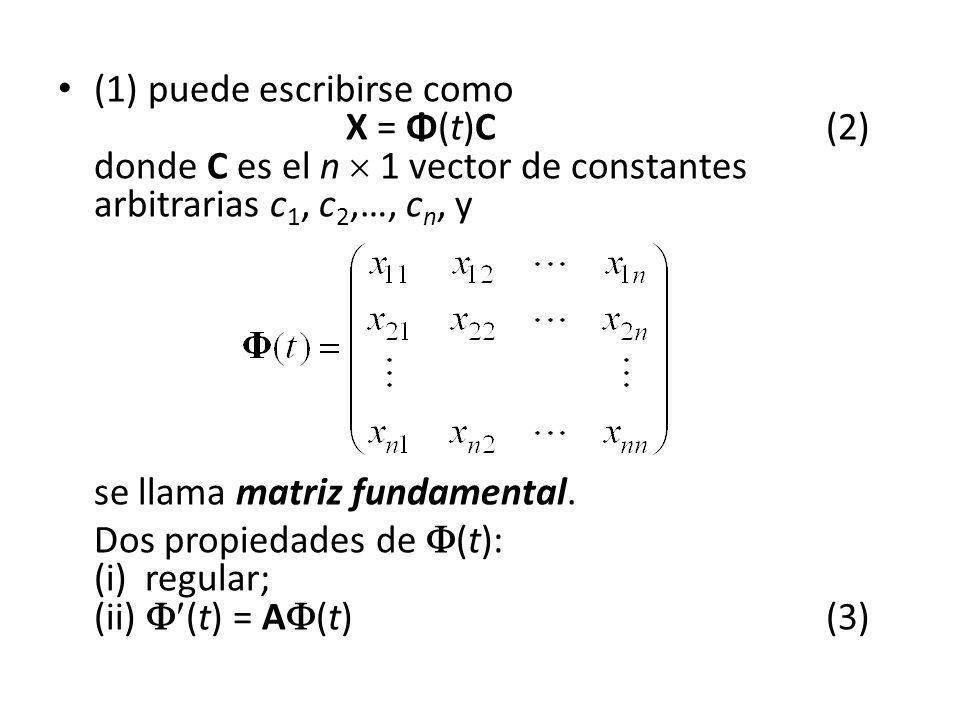 (1) puede escribirse como. X = Φ(t)C