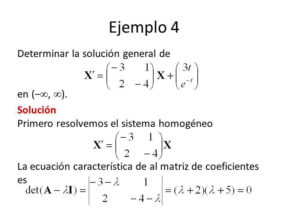 Ejemplo 4 Determinar la solución general de en (−, ).