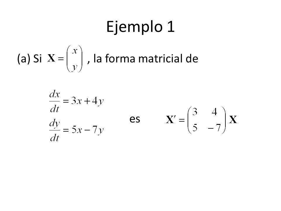 Ejemplo 1 (a) Si , la forma matricial de es