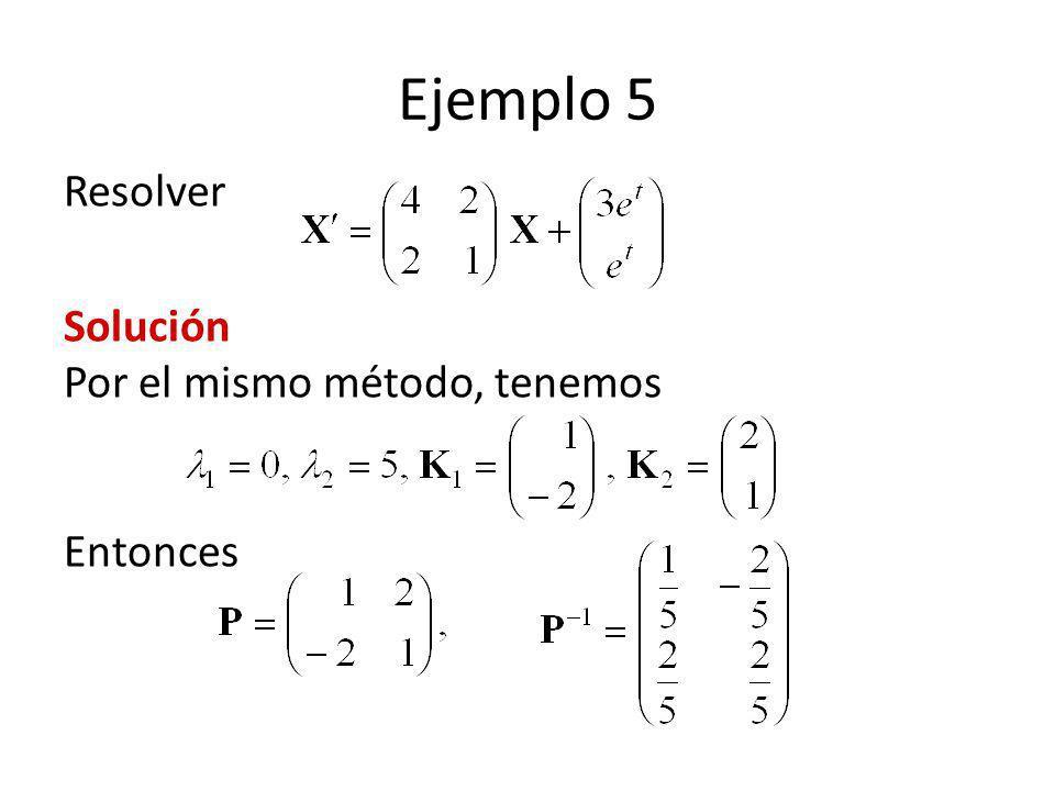 Ejemplo 5 Resolver Solución Por el mismo método, tenemos Entonces