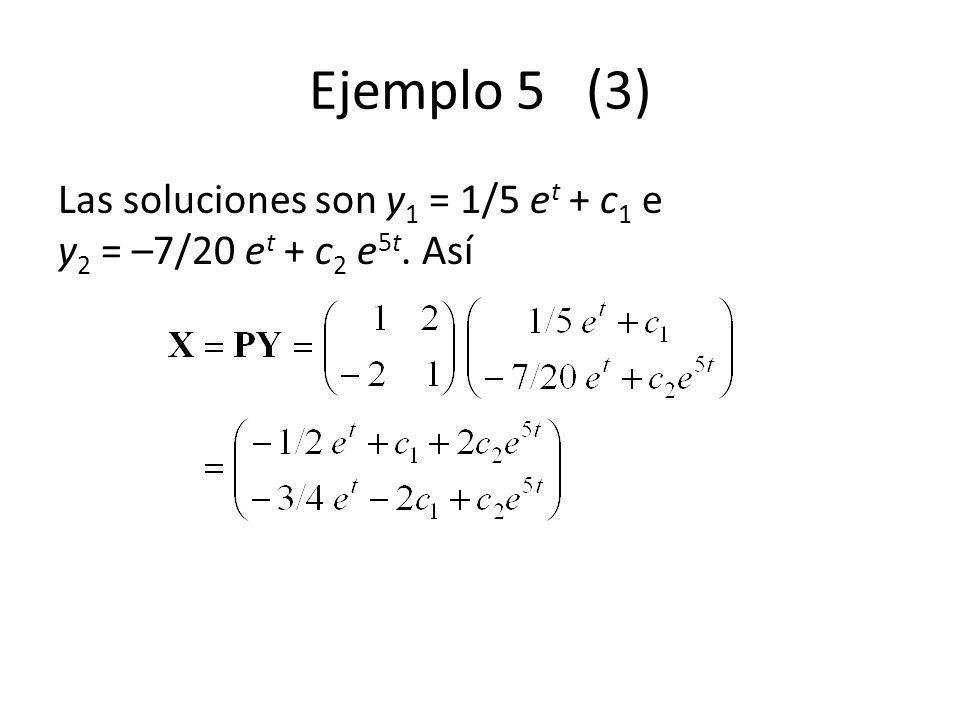 Ejemplo 5 (3) Las soluciones son y1 = 1/5 et + c1 e y2 = –7/20 et + c2 e5t.