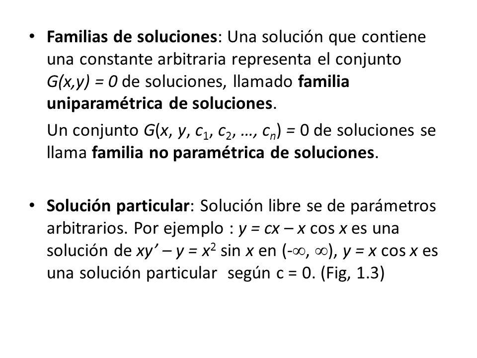 Familias de soluciones: Una solución que contiene una constante arbitraria representa el conjunto G(x,y) = 0 de soluciones, llamado familia uniparamétrica de soluciones.