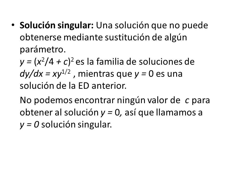 Solución singular: Una solución que no puede obtenerse mediante sustitución de algún parámetro. y = (x2/4 + c)2 es la familia de soluciones de dy/dx = xy1/2 , mientras que y = 0 es una solución de la ED anterior.