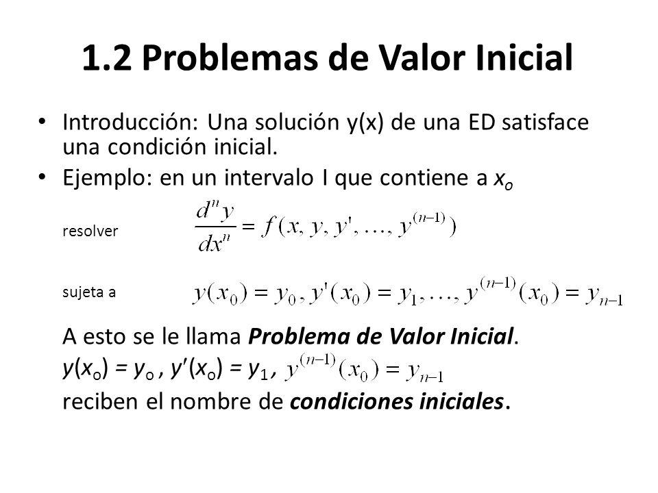 1.2 Problemas de Valor Inicial