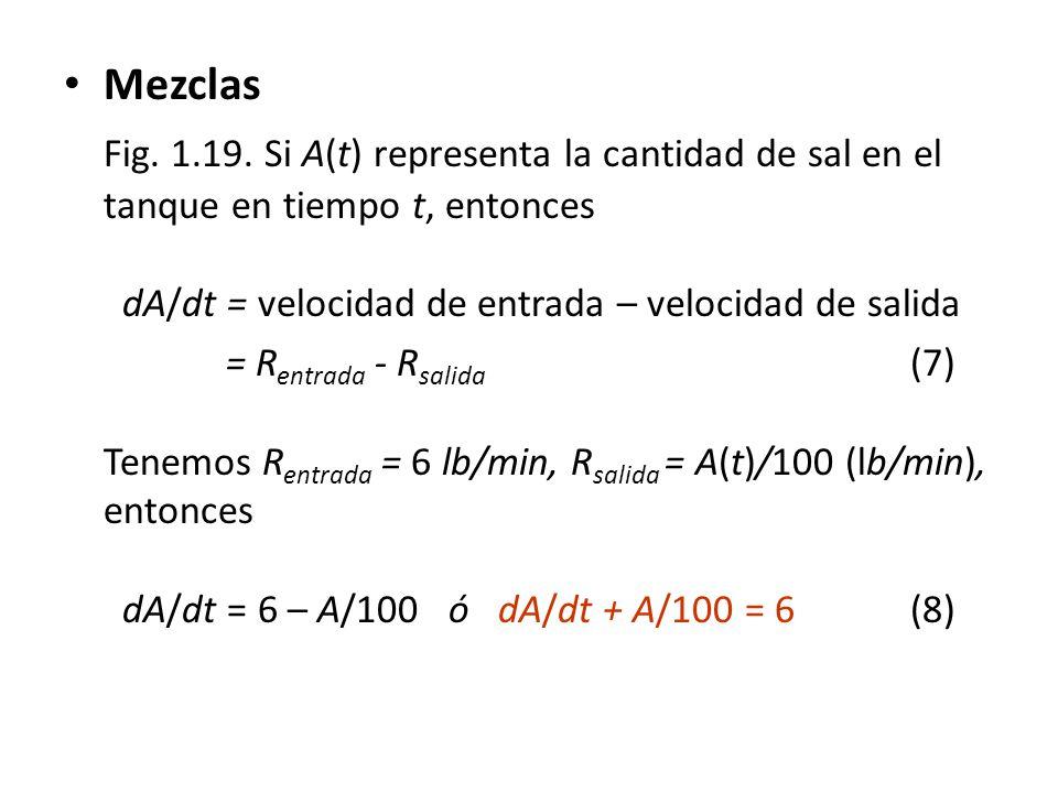 Mezclas Fig. 1.19. Si A(t) representa la cantidad de sal en el tanque en tiempo t, entonces dA/dt = velocidad de entrada – velocidad de salida.