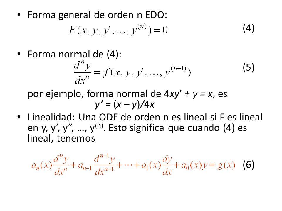 Forma general de orden n EDO:
