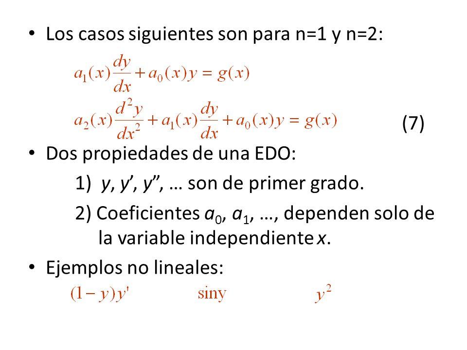 Los casos siguientes son para n=1 y n=2: