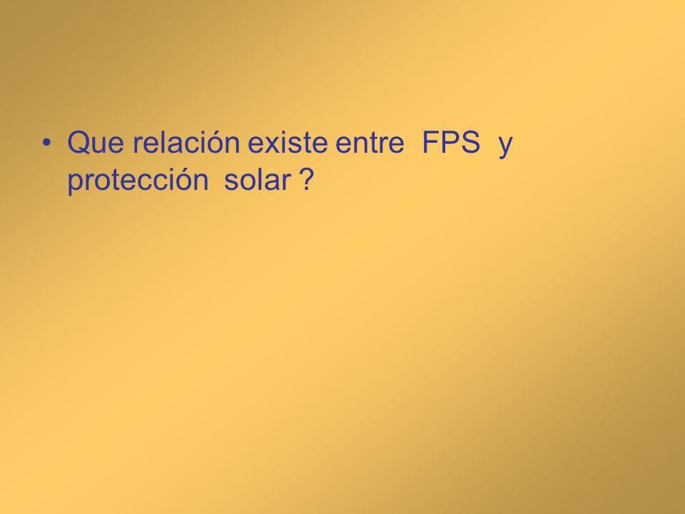 Que relación existe entre FPS y protección solar