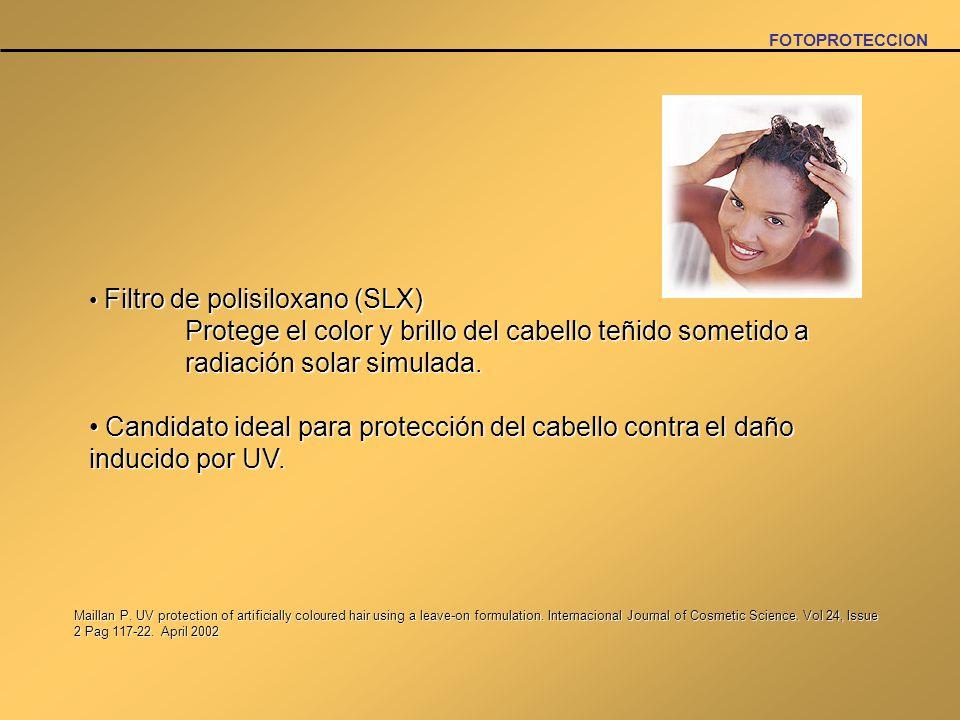 FOTOPROTECCIONFiltro de polisiloxano (SLX) Protege el color y brillo del cabello teñido sometido a radiación solar simulada.