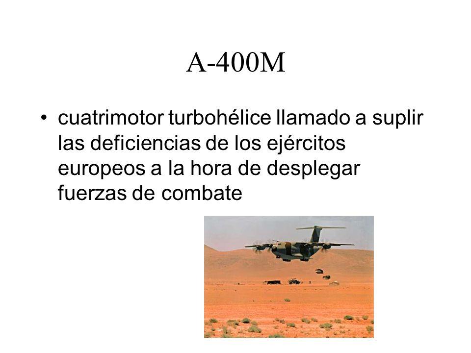 A-400M cuatrimotor turbohélice llamado a suplir las deficiencias de los ejércitos europeos a la hora de desplegar fuerzas de combate.