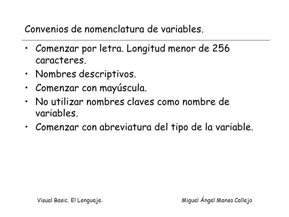 Convenios de nomenclatura de variables.