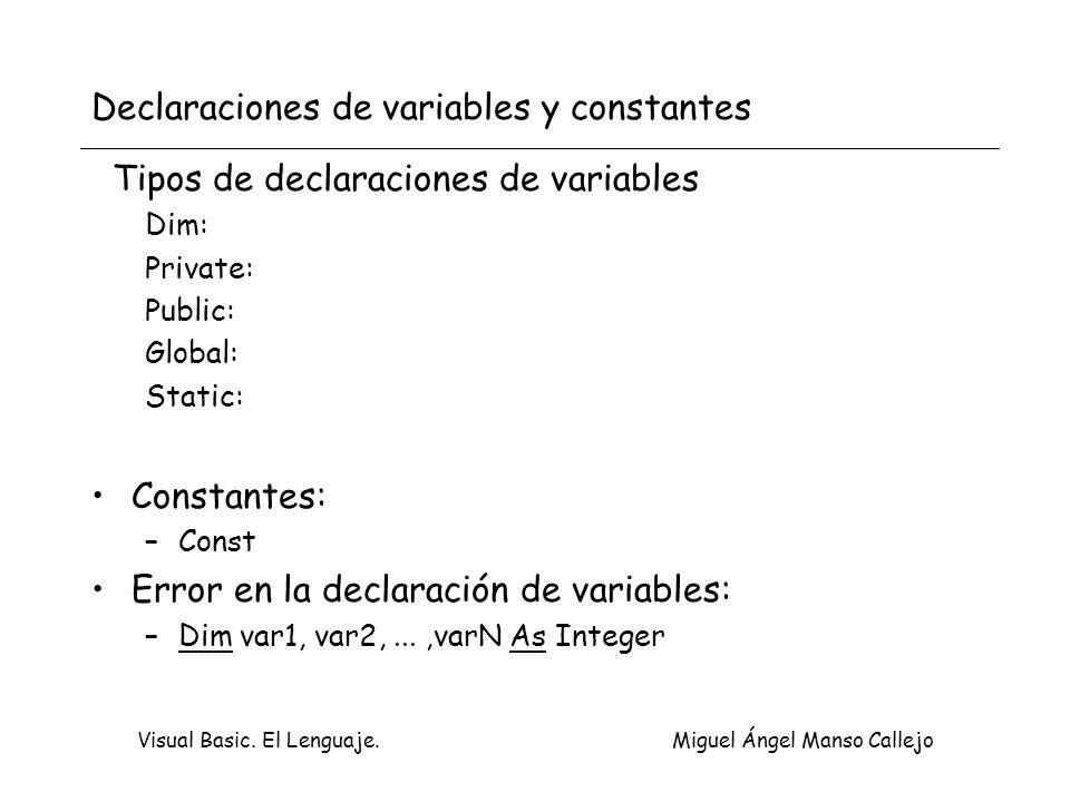 Declaraciones de variables y constantes