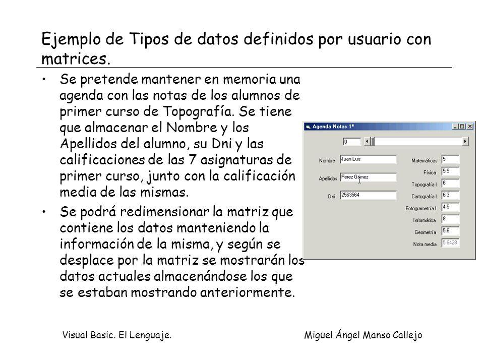 Ejemplo de Tipos de datos definidos por usuario con matrices.