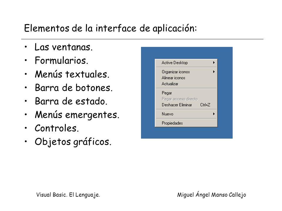 Elementos de la interface de aplicación: